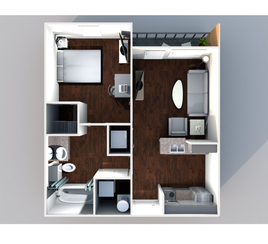 21pearl 1x1 A1 Floorplan 1024x931 - 1 Bed <span>|</span> 1 Bath